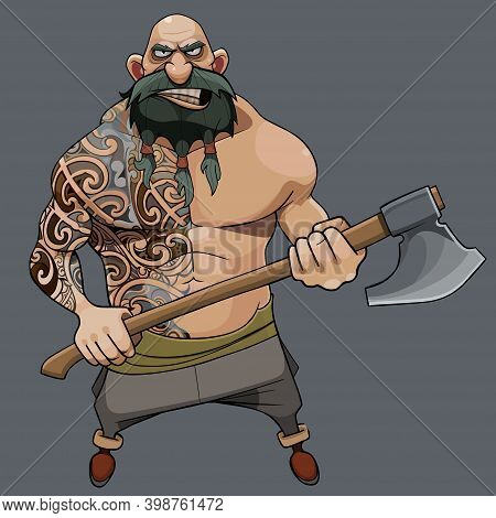 Cartoon Menacing Bearded Man With A Muscular Torso In Tattoos Stands With An Ax In His Hands