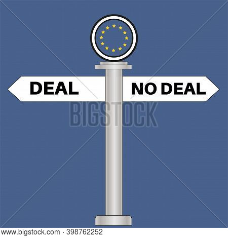 Brexit Deal Or No Deal Signpost Vector Illustration