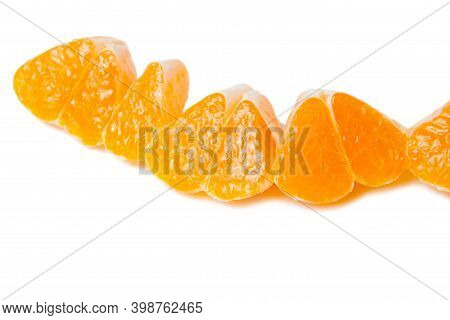 Tangerine Slices With Shadow Isolated On White Background