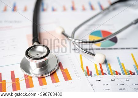 Stethoscope On Charts And Graphs Spreadsheet Paper, Finance, Account, Statistics, Investment, Analyt