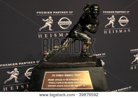 NEW YORK-DEC 8: General view of the 2012 Heisman trophy at the Marriott Marquis on December 8, 2012 in New York City.