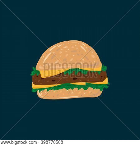 Picture Of A Hamburger With Meat. American Food On The Run Hand-drawn. Vector Hamburger Bun With Cut