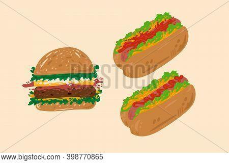 Fast Food Set. Cute Collection Of American Food. Vector Hamburger Bun With Cutlet Sauce, Sausage, Ke