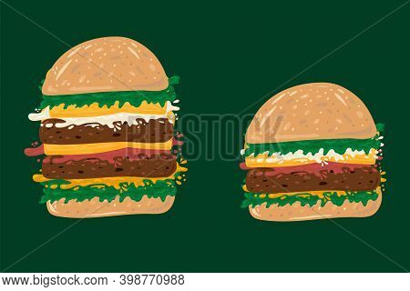 Fast Food Burger Set. Cute Collection Of American Food On The Run. Vector Hamburger Bun With Cutlet