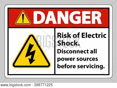 Danger Risk Of Electric Shock Symbol Sign Isolate On White Background