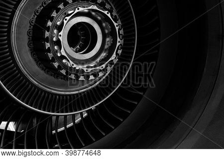 Details Of The Turboprop Engine. Airplane Propeller. Turbine Mechanism And Device. Screws, Nuts, The