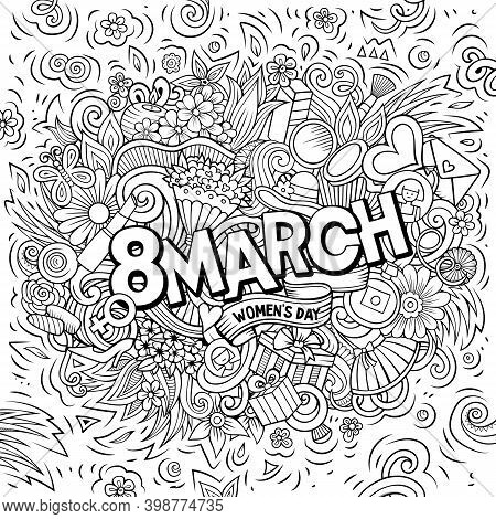 8 March Hand Drawn Cartoon Doodles Illustration. Funny Holiday Design. Creative Art Raster Backgroun