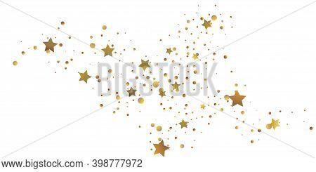 Star Confetti. Golden Casual Confetti Background. Bright Design Pattern. Vector  Template With Gold