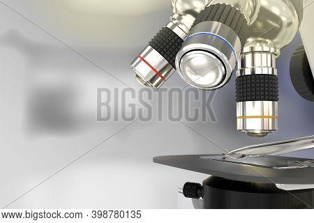 Biochemistry Analyzing Concept, Object 3d Illustration -  Lab Electronic Scientific Microscope On Se