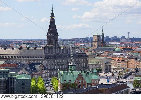 Copenhagen, Denmark - June 22, 2019 :  Aerial View On The City From The Spiral Tower Church Of Our S