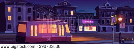 City Street With Houses, Tram And Empty Car Road With Pedestrian Crosswalk At Night. Vector Cartoon