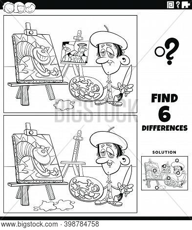 Black And White Cartoon Illustration Of Finding The Differences Between Pictures Educational Game Fo