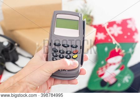 Paid With Pos And Credit Card, Pos Terminal, Christmas Decor
