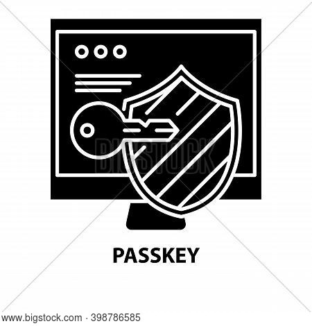 Passkey Icon, Black Vector Sign With Editable Strokes, Concept Illustration