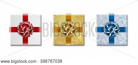 Three Gift Boxes With Bows. Vector Illustration On White