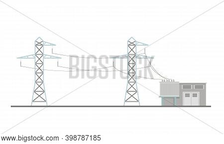 Power Lines And Transformer Substation Building. Flat Vector Illustration Isolated On White Backgrou