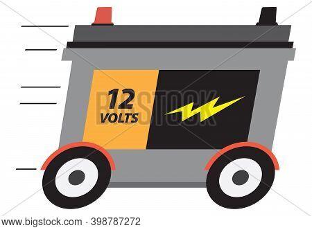 A 12 Volt Cartoon Car Battery Is Speeding Along