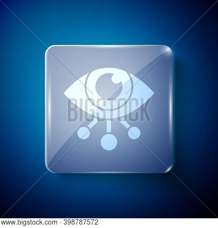 White Eye Scan Icon Isolated On Blue Background. Scanning Eye. Security Check Symbol. Cyber Eye Sign