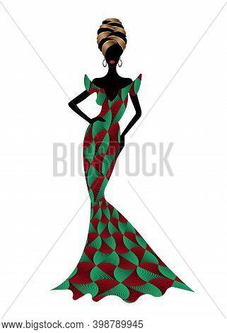 Beautiful African Woman In Typical Afro Clothing And Headdress Ethnic Turban, Ankara Wax Print Texti