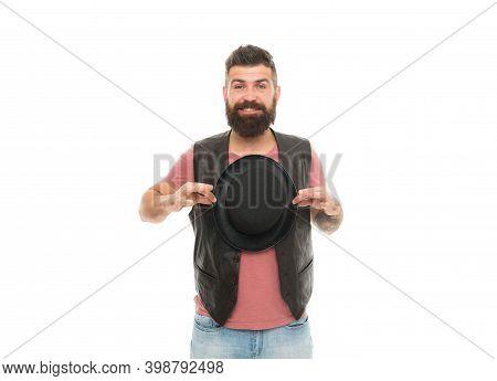 Hocus Pocus. Man Bearded Guy Magician. Magician Character. Magician Trick Performance Concept. Circu