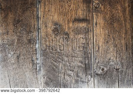 Some Old And Worn Wooden Boards In Brown Tone, For Rustic And Rural Background. Background For Chris