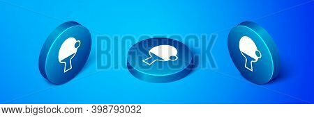 Isometric Racket For Playing Table Tennis Icon Isolated On Blue Background. Blue Circle Button. Vect