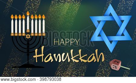 Hanukkah Shining Background With Menorah, David Star On Beautiful Shining Background. Happy Hanukkah