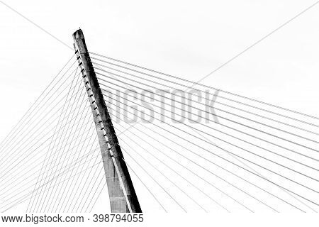 A Detail View Of The Ponte Dos Tirantes Bridge In Pontevedra