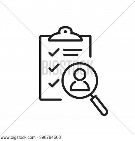 Job Interview Hire Form List Line Icon. Candidate Questionnaire Check List For Vacancy. Hr Talent Su