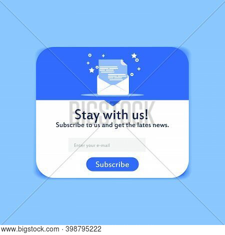 Popup Modern Subscription Form Design. Creative Menu For Followers. Mailing Letters Website Page Vec