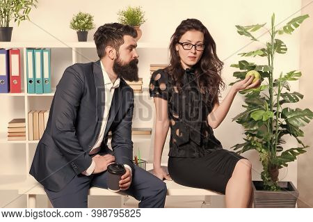 Meal Break. Business Couple Enjoy Office Snack. Sensual Girl And Bearded Man During Work Break. Snac