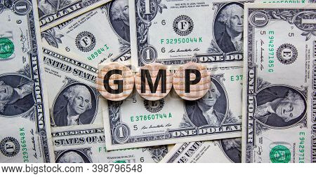 Gmp Symbol. Wood Circles With Word 'gmp, Good Manufacturing Practice' On Beautiful Background From D