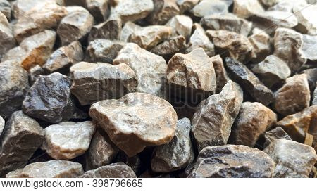 Granite Gravel Road Texture. Natural Crushed Stone Background. Grey  Copy Space Surface With Granite