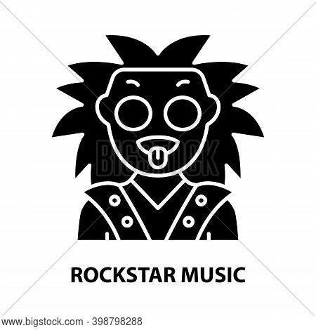 Rockstar Music Icon, Black Vector Sign With Editable Strokes, Concept Illustration