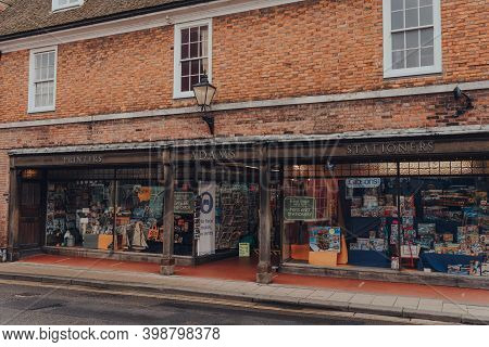 Rye, Uk - October 10, 2020: Exterior And Entrance To Adams Of Rye Printers And Stationery Shop In Ry