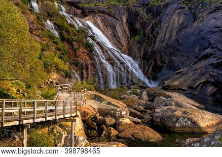 A View Of The Boardwalk Leading To The Ezaro Waterfall In Western Galicia