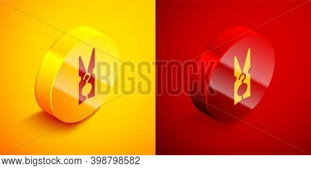 Isometric Old Wood Clothes Pin Icon Isolated On Orange And Red Background. Clothes Peg. Circle Butto
