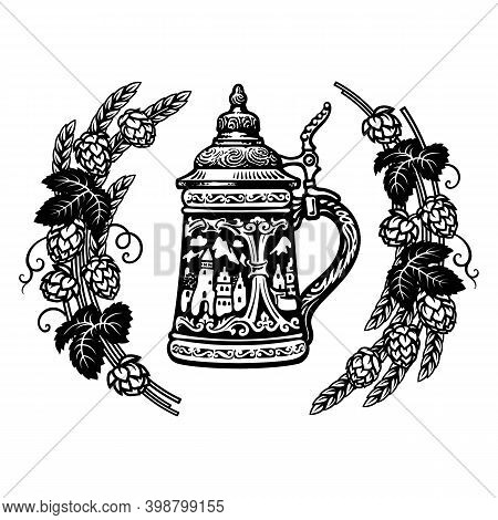 German Stein Beer Mug In Frame Of Hop Branches With Cones And Leaves, Wheat Barley Ears. Hand Drawn