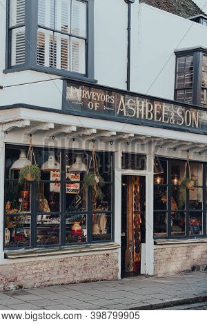 Rye, Uk - October 10, 2020: Exterior Of Ashbee And Co Homeware Shop On High Street In Rye, One Of Th