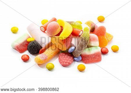 Assortment Of Candies And Sweets Isolated On White Background. Colorful Jellies