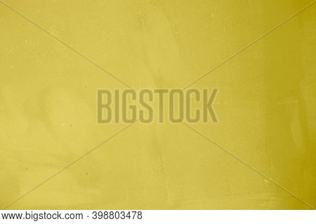 Designed Painted Abstact Yellow Concrete Textured Background. Trendy Color Of The Year 2021.