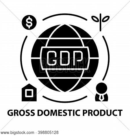 Gross Domestic Product Icon, Black Vector Sign With Editable Strokes, Concept Illustration