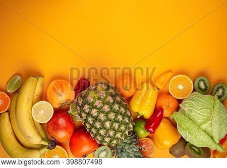 Fruit, Citrus, Vegetables With Vitamin C, Yellow Background Top View. Vitamin C Natural Sources For