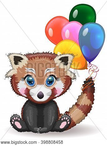 Red Panda, Cute Character With Balloons, Greeting Card, Bright Childish Style. Rare Animals, Red Boo