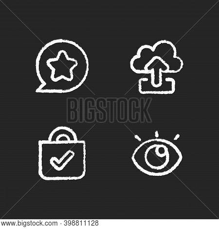 Interface For Better Usability Chalk White Icons Set On Black Background. Blocking Delete Functional