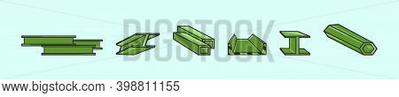 Set Of Steel Beam Cartoon Icon Design Template With Various Models. Modern Vector Illustration Isola
