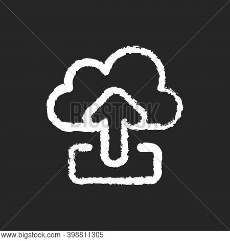 Upload Chalk White Icon On Black Background. Sending Your Personal Information To Remote Cloud Serve