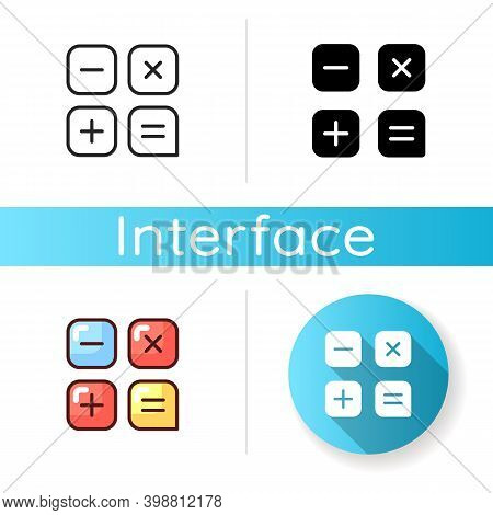 Calculator App Icon. Arithmetic Operations On Numbers. Performing Calculations. Addition, Subtractio