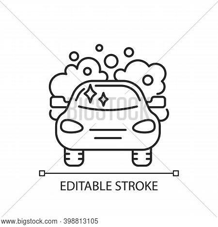 Car Washing Linear Icon. Vehicle Maintenance Service, Transport Washing. Housekeeping Chore Thin Lin