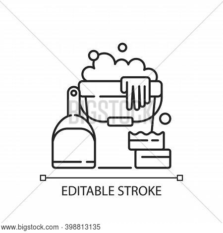 Cleaning Tools Linear Icon. Cleaner Tools, Housekeeping Supplies Thin Line Customizable Illustration